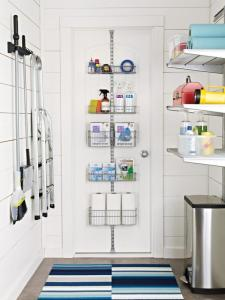 Over the door storage basket for a small laundry room.