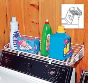 Add a laundry rack shelf above your washer for more storage space.