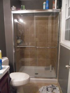 Spray your shower doors with lemon pledge to keep them clean longer by preventing water stains and soap scum buildup.