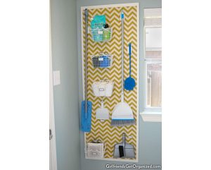 DIY pegboard organizer for laundry room.