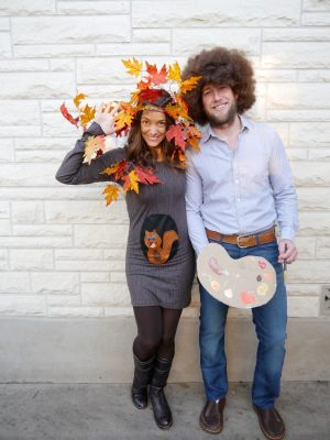 DIY Halloween Costume Idea for Couples- Bob Ross and Happy Little Tree. LOVE this! Repin!