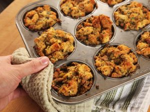 Use a muffin to bake single servings of stuffing. This will save a ton of time!