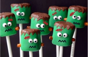 Halloween food idea- Frankenstein marshmellow snack