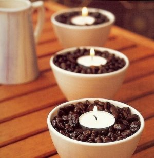 Place vanilla scented tea lights in a bowl of coffee beans to make your home smell like a coffee shop.