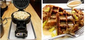 Use a waffle iron to cook your stuffing or Thanksgiving. We promise you wont regret it!