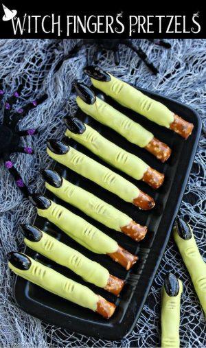 Halloween food idea- Pretzel Witch Fingers!