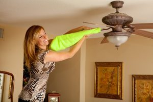 Use this microfiber pillow case to dust your ceiling fan blades.