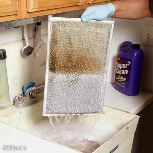 Clean your oven hood filter using water based degreaser.