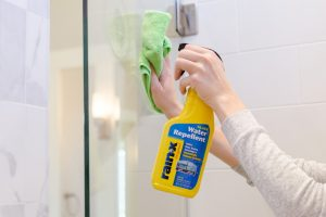 Use Rain-X to remove water stains and soap scum buildup on your shower doors and windows.