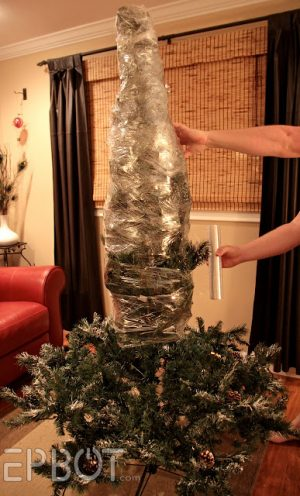 Instead of breaking down your fake Christmas tree, shrink wrap it for easy storage.