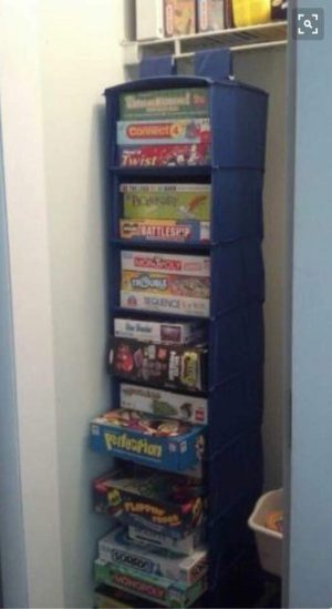 Use a closet organizer to store games, puzzles and other playthings.