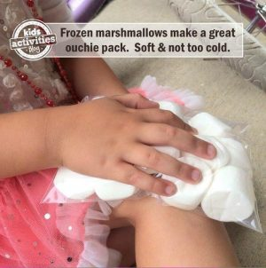 Use a bag of marshmallows as an icepack for your kids! How awesome!