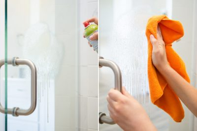 KEEP YOUR SHOWER DOORS CLEAN WITH THIS SIMPLE CLEANING HACK! I WANT TO TRY THIS LATER. REPIN!