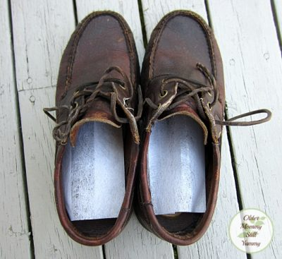 Place a dryer sheet in each shoe to get rid of bad smells.