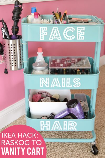 Turn a rolling cart into portable storage for makeup, hair and other items.