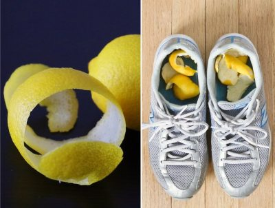 Add lemon peels to your shoes to deodrize them.