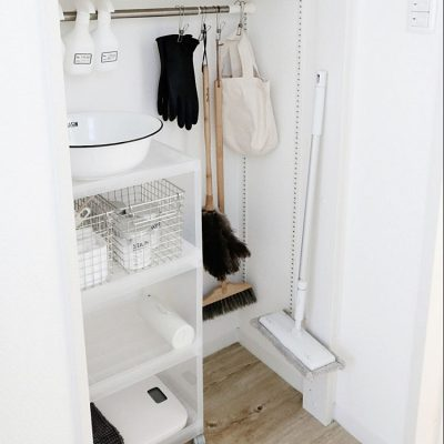 Organize broom closet with simple items.