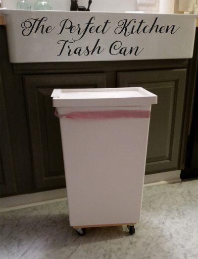 Add wheels to your trash can so that it can be mobile and you can move it around the kitchen when you need it, especially when cooking.