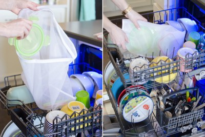 Fill laundry bag with small items like lids to keep them together in the dish washer.