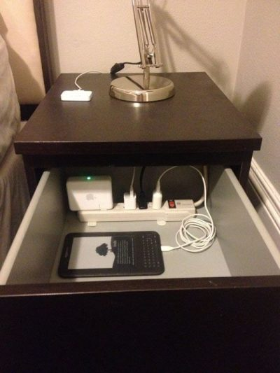 Use a power strip inside of your dresser drawer to charge multiple items at once.