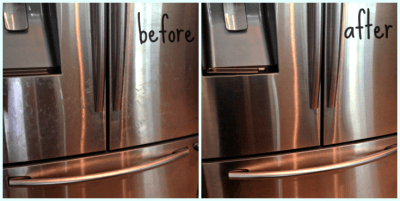 All you need is vinegar and olive oil to make your stainless steel appliances shine for weeks.