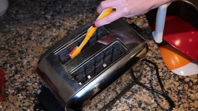 Clean your toaster with a toothbrush!
