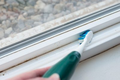 Don't forget to clean those window tracks with an old, unused toothbrush