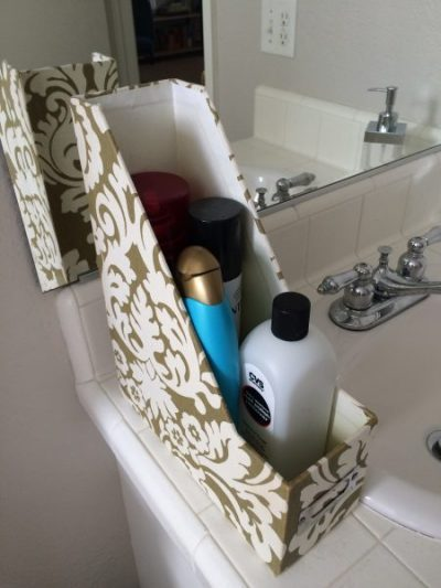 Keep your hair products neat and organized by keeping them in a file folder under the bathroom sink or closet.