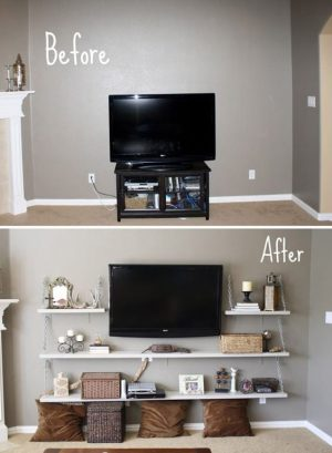 What a great way to style your tv and create storage space for other items!