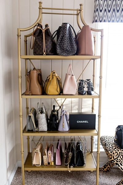 If you got a lot of purses, use a standalone shelf to display, store and organize your favorite accessories.