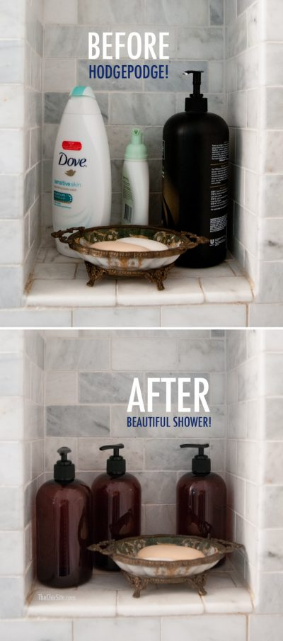 Place shamppoo and conditioner in matching bottles to get a more uniform look for your shower.