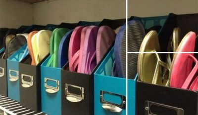 Use magazine holders to organize and store shoes such as flip-flops and sandals.