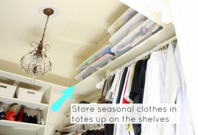 Save space in your closet by removing seasonal clothes and storing them in bins and baskets.