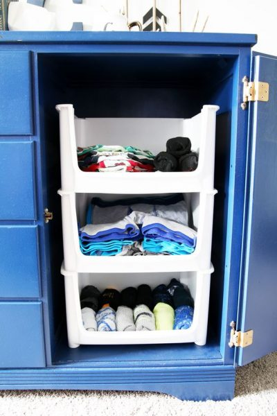 Use stackable bins to store and organize your socks, underwear and other items in your bedroom.