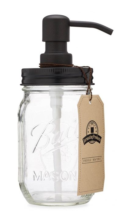 Lovely soap dispenser to fit farmhouse or industrial themed kitchen decor.