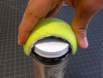 If you need extra grip when it comes to opening jars, use a tennis ball.