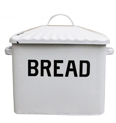 A lovely white metal bread box. A perfect addition to your lovely farmhouse kitchen decor.
