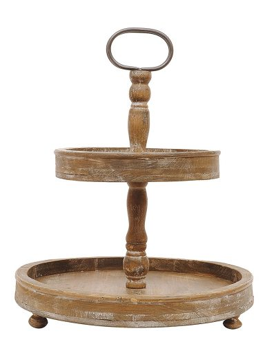 Lovely wood two-tiered tray for a farmhouse vignette.
