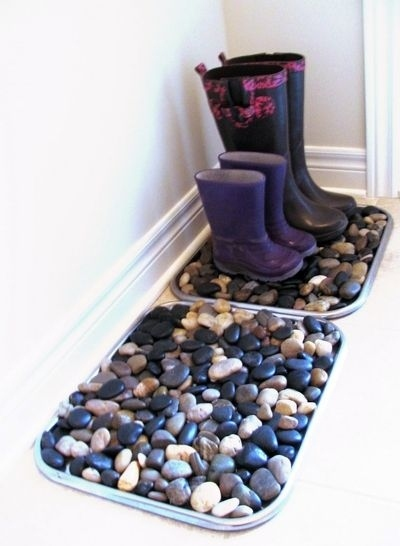 Make a boot tray for your entryway to keep boots organized and prevent tracking dirt and mud into your home.