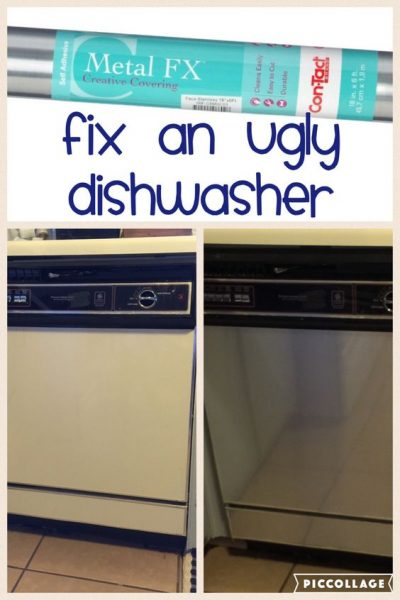 Apply contact paper to ugly apartment appliances for a quick and easy upgrade.