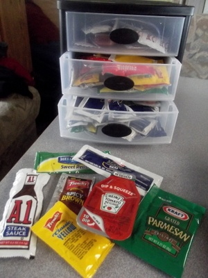 Brilliant idea for storing condiments in the home or a RV.