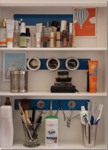 Attach magnetic strips to the inside your medicine cabinet to store small items such as hair pins and grooming tools.