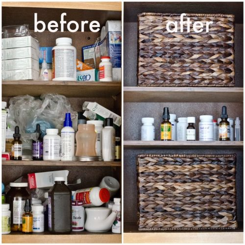 Use bins to hide medicine and make your medicine cabinet look neater.