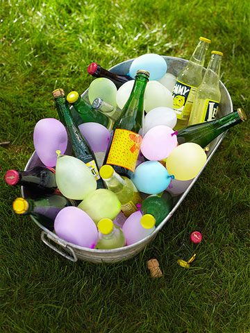Freeze water balloons and use them to keep your drinks cool. #summer