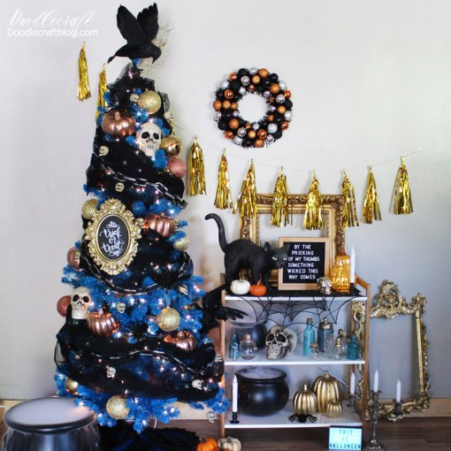 Halloween blue Christmas tree Treetopia crow skeleton chains diy 24 - 18 Best Halloween Christmas Tree Decorating Ideas for 2019