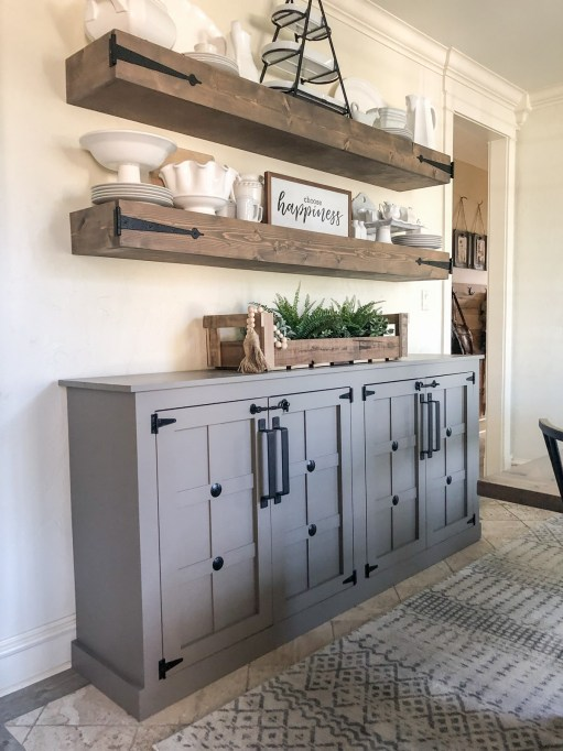 farmhouse dining room cabinet - 18 Cheap and Easy DIY Rustic Farmhouse Home Decor Ideas