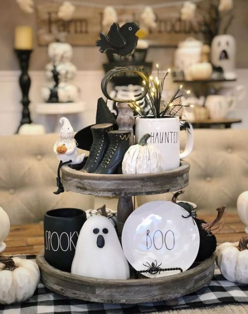 halloween tiered tray decor 8 - 19 Fabulous Halloween Tiered Tray Decor Ideas