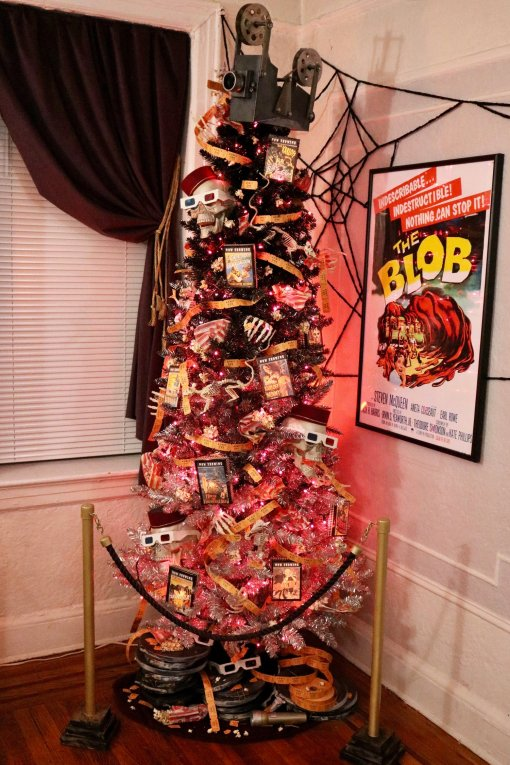 haunted movie theatre halloween tree - 18 Best Halloween Christmas Tree Decorating Ideas for 2019