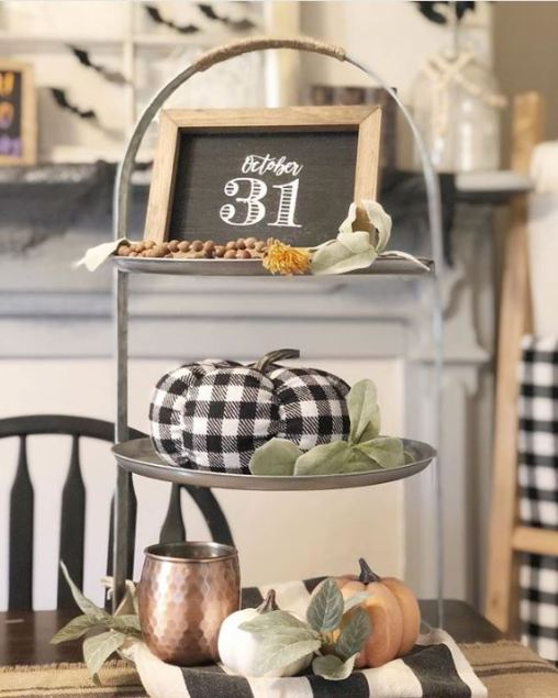 plaid pumpkin halloween tray - 19 Fabulous Halloween Tiered Tray Decor Ideas
