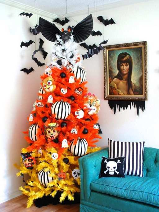 striped pumpkins - 18 Best Halloween Christmas Tree Decorating Ideas for 2019